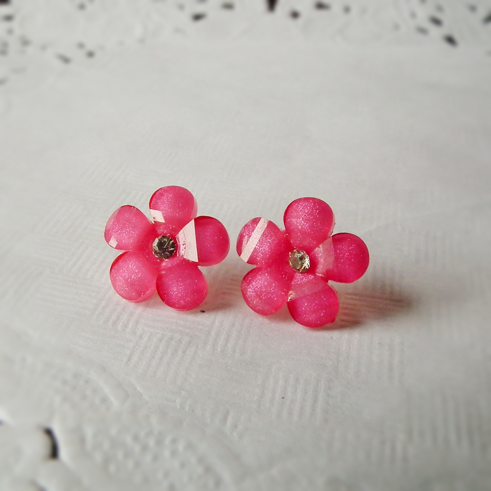 Crystal Pink flower Stud Earring - 925 sterling silver post earring